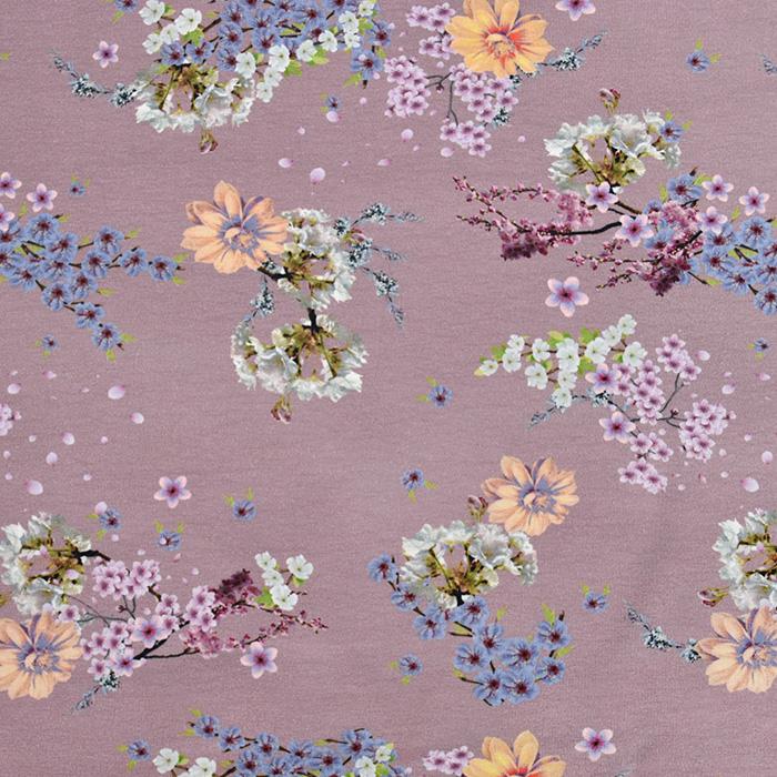 Jersey, pamuk, cvjetni, 20204-4723, ružičasta