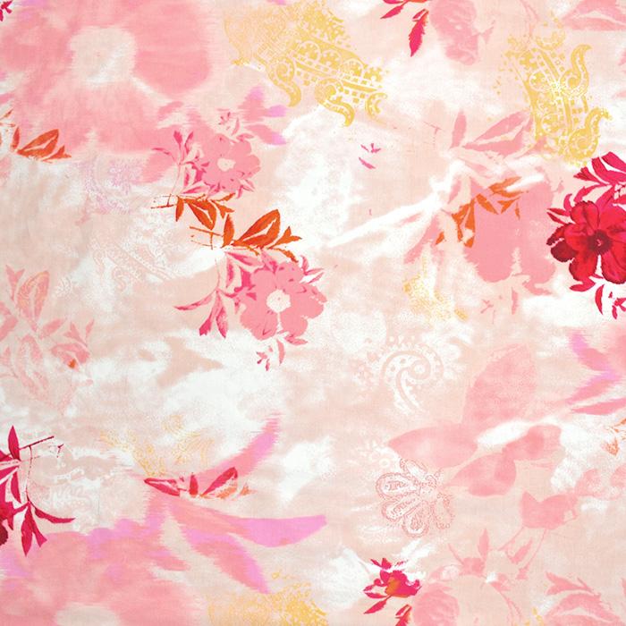 Bombaž, poplin, cvetlični, 2650-78, roza