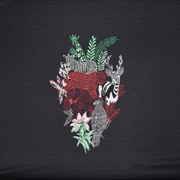 Žakard, živalski, 20305-2, črna