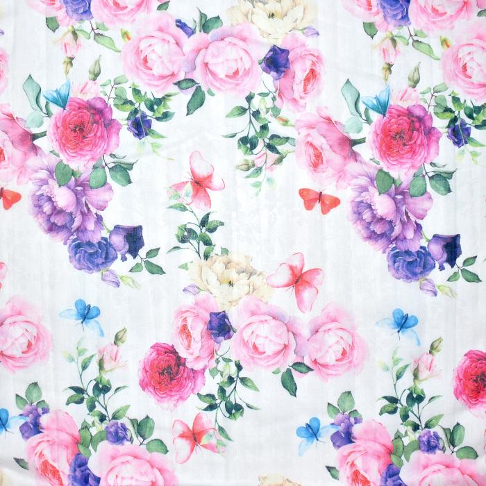 Bombaž, mečkanka, cvetlični, 20549-050, bela