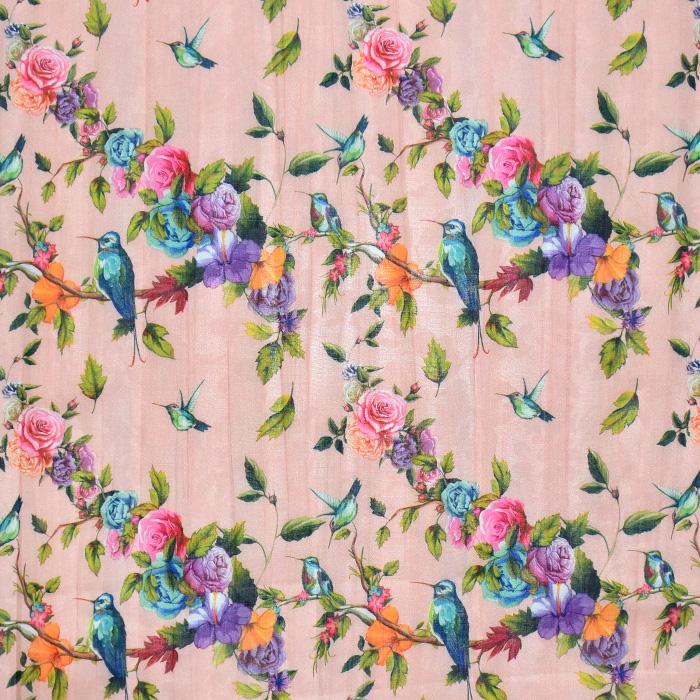 Bombaž, mečkanka, cvetlični, 20550-011, marelična
