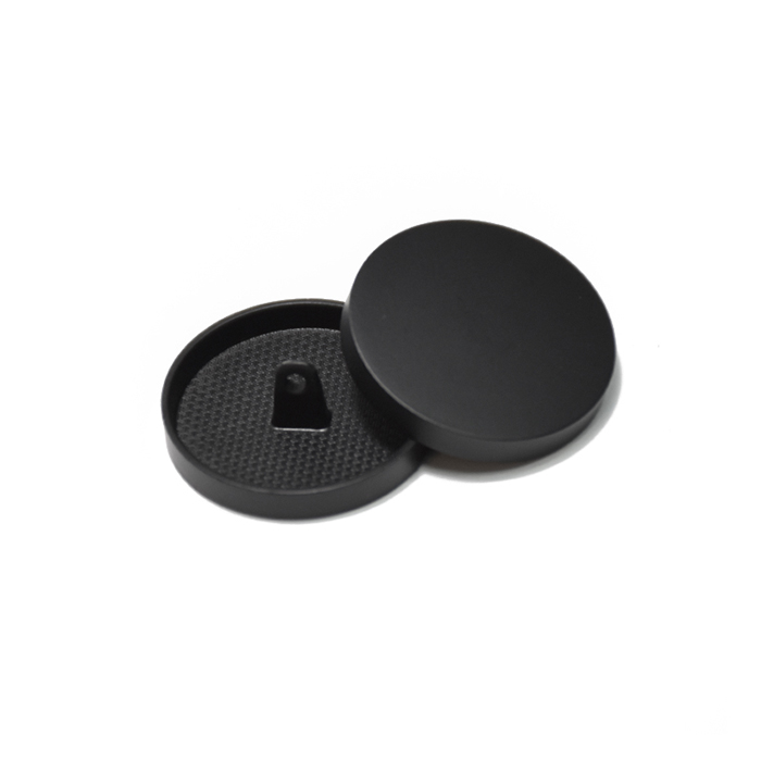 Knopf, metallisch, Bömbchen, 23mm, 20429-130, schwarz matt