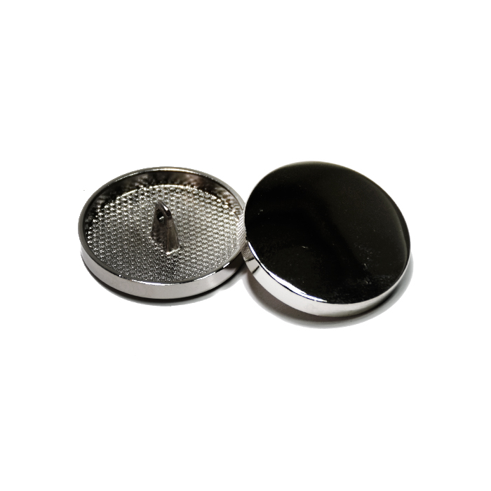 Knopf, metallisch, Bömbchen, 28mm, 20430-105, dunkelsilbern