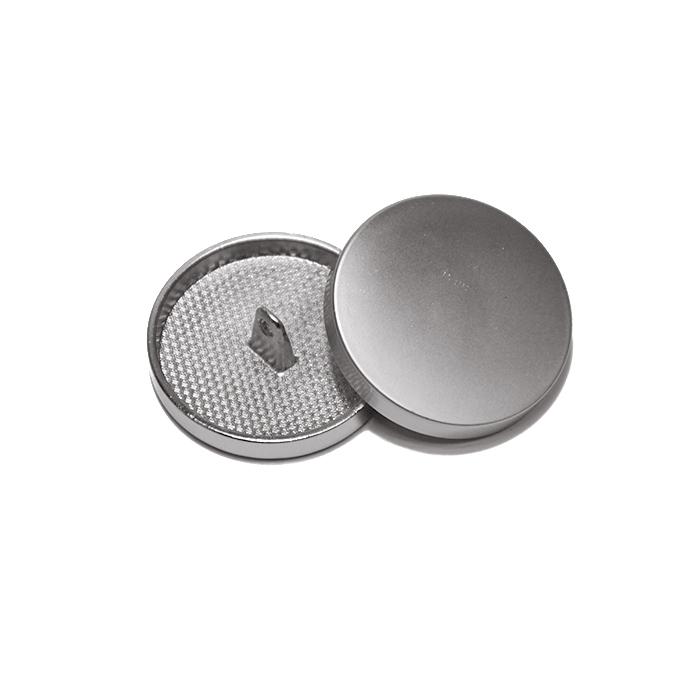 Knopf, metallisch, Bömbchen, 28mm, 20430-110, silbern matt