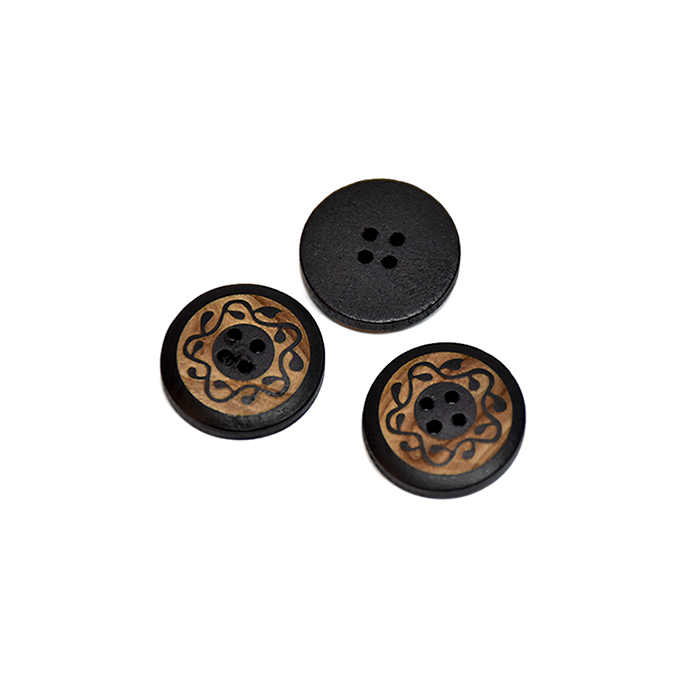 Gumb, leseni, tisk, 13mm, 20446-002, črna