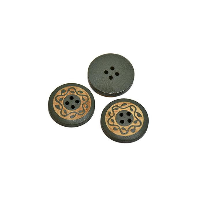 Gumb, leseni, tisk, 13mm, 20446-015, zelena
