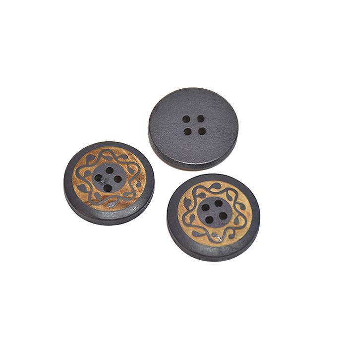 Gumb, leseni, tisk, 13mm, 20446-027, siva