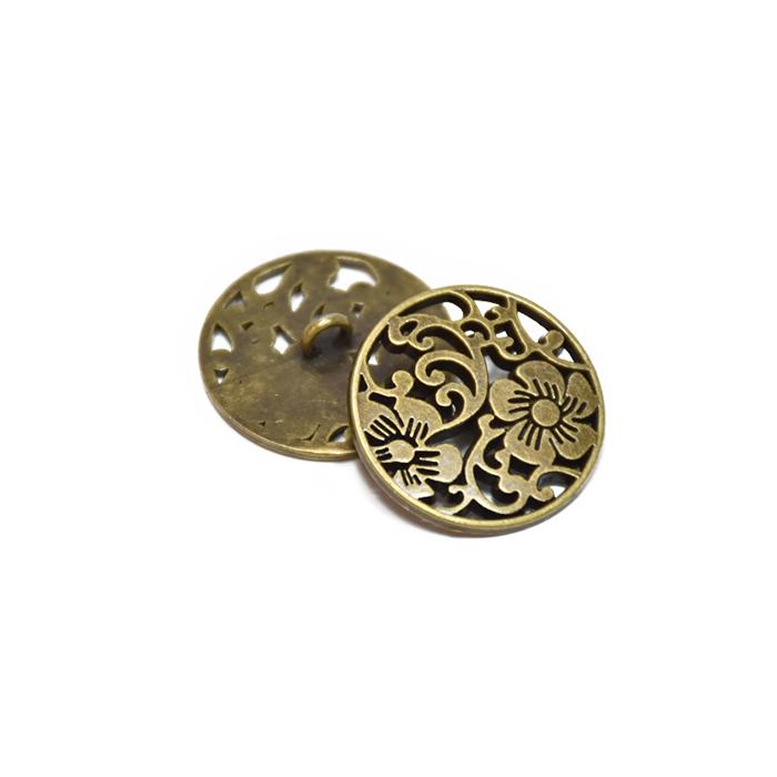 Gumb, kovinski, cvetlični, 18mm, 20455-102, staro zlato