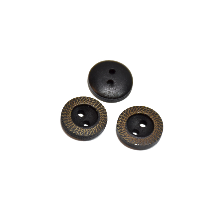 Gumb, leseni, 13mm, 20460-011, črna