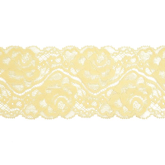 Čipka, elastična, 90 mm, 20482-024, svetlo rumena