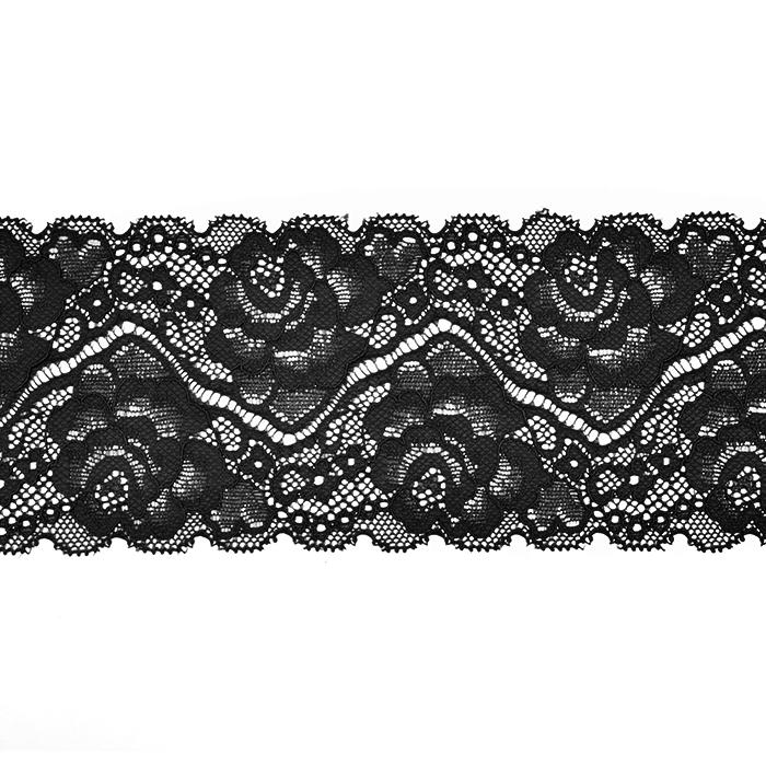 Čipka, elastična, 90 mm, 20482-002, črna