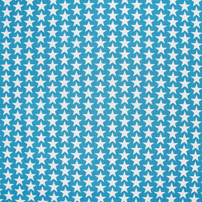 Bombaž, poplin, zvezde, 20825-9, turkizna