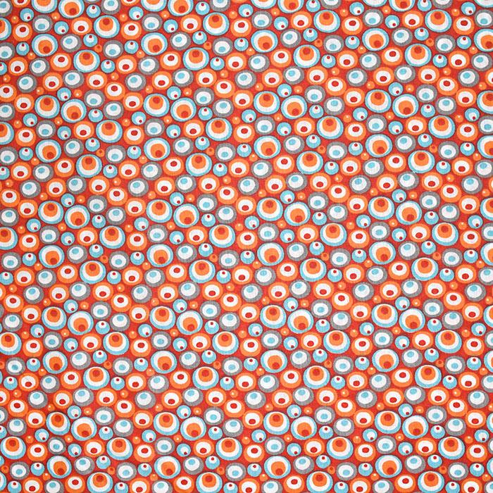 Bombaž, poplin, krogci, 20856-3, rdeče oranžna