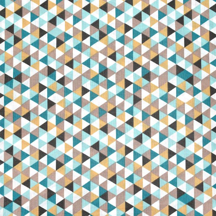 Bombaž, poplin, geometrijski, 20861-4, rjava