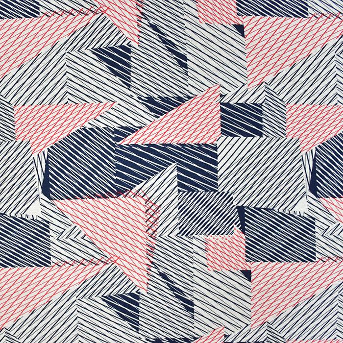 Jersey, viskoza, geometrijski, 20951-008, rdeče modra