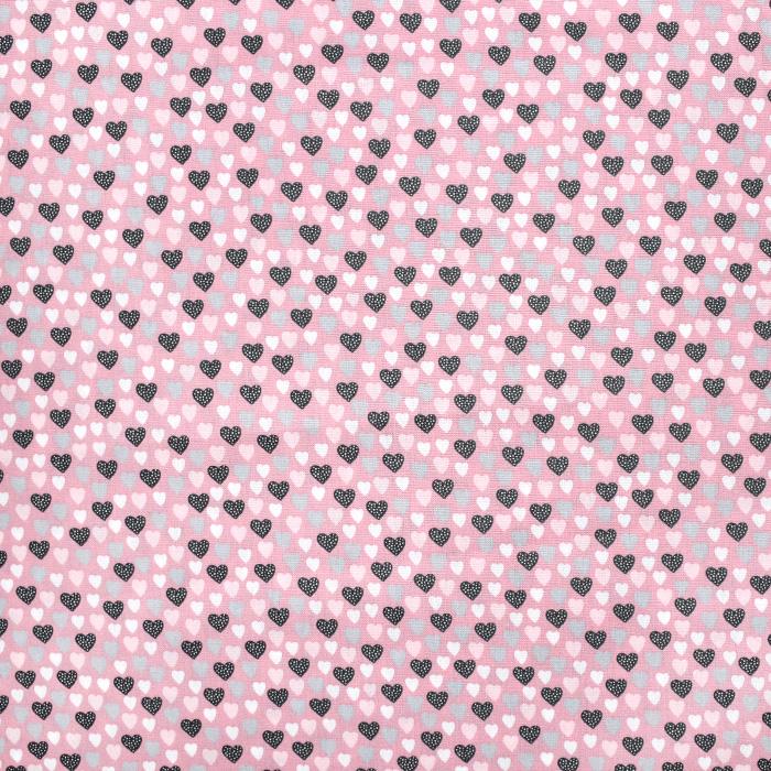 Bombaž, poplin, srčki, 21081-002, roza