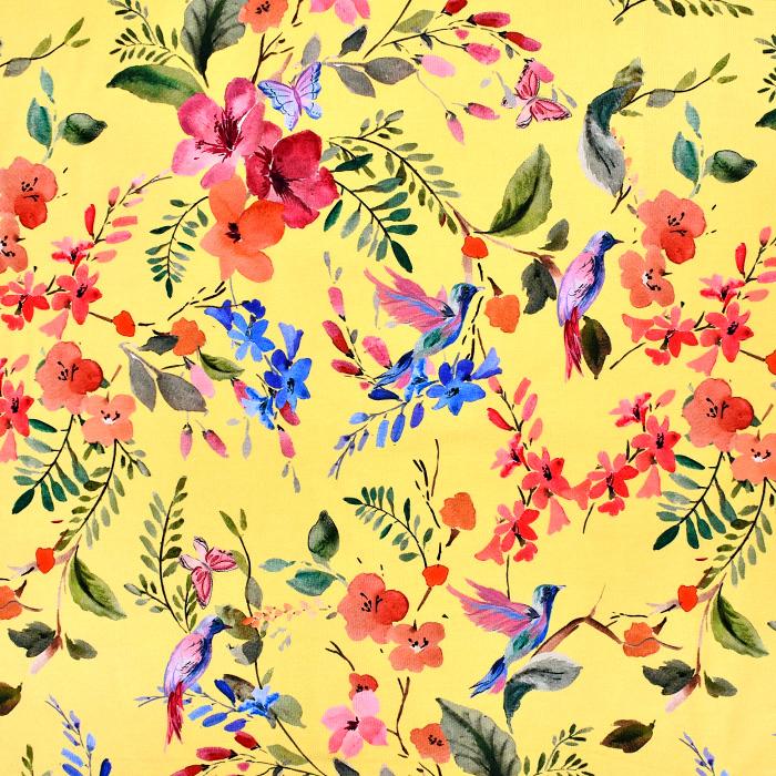 Jersey, Baumwolle, digital, floral, 21095-570, gelb