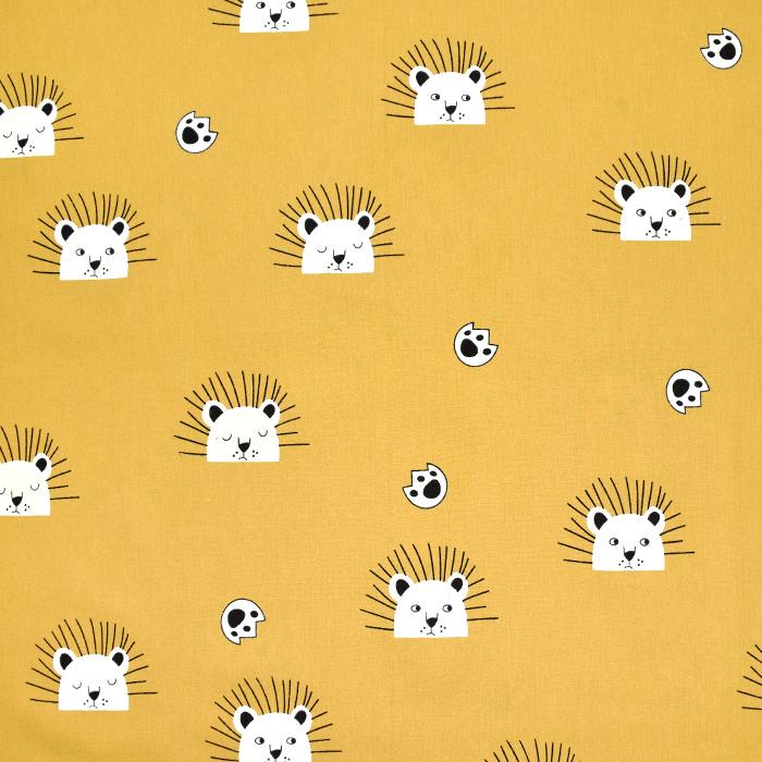 Gewebe, Baumwolle, Tiere, 2117-570, gelb