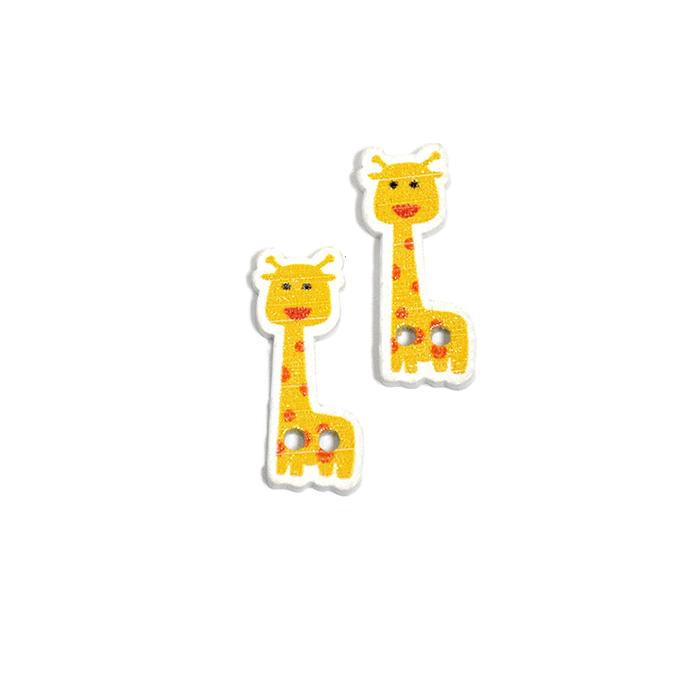 Knopf, Holz, Giraffe, 19303-024, gelb
