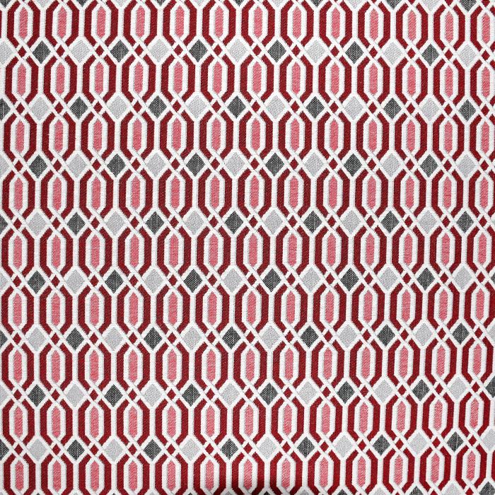 Dekostoff, Jacquard, geometrisch, 21312-22, rot