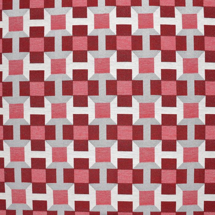 Dekostoff, Jacquard, geometrisch, 21311-22, rot