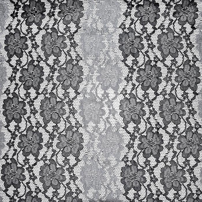 Čipka, elastična, cvetlični, 21351-1, črna