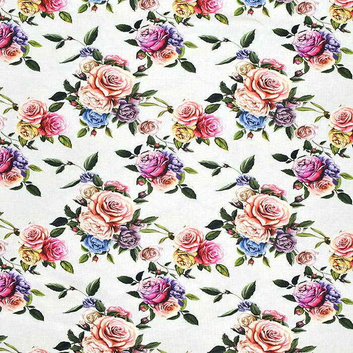 Jersey, bombaž, digital, cvetlični, 21445-2, smetana