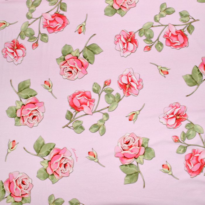 Jersey, Baumwolle, floral, 21497-2, rosa