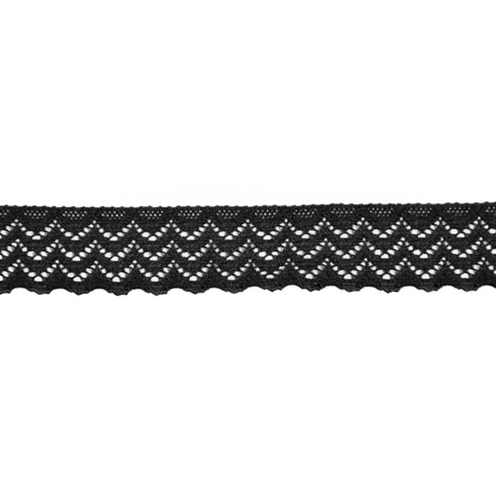 Čipka, elastična, 20mm, 21538-002, črna
