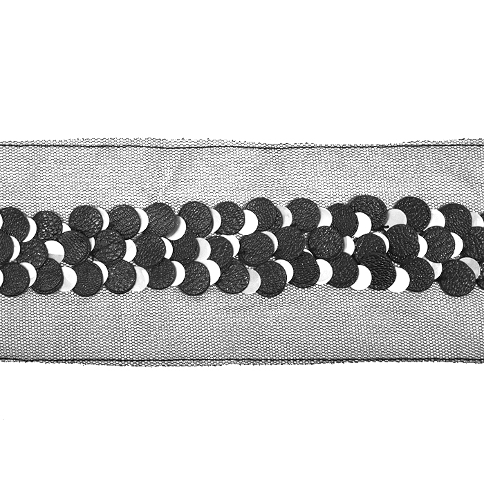 Band, dekorativ, Pailletten, 21543-2101, schwarz-silbern
