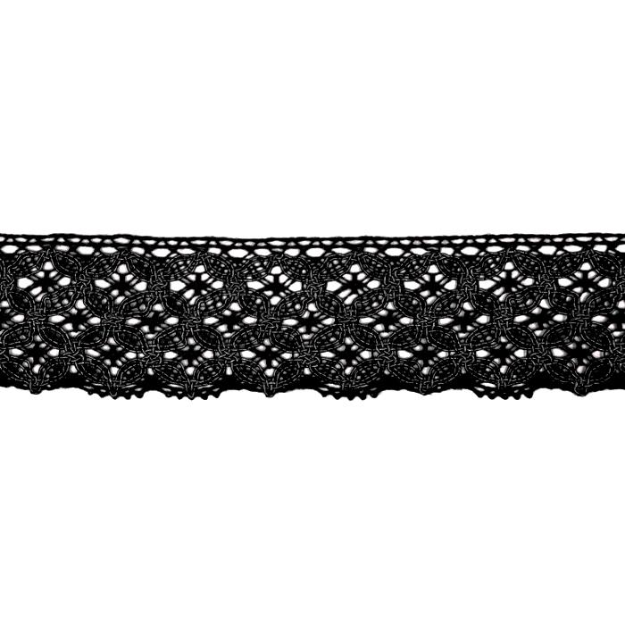 Čipka, bombaž, 40mm, 21545-002, črna