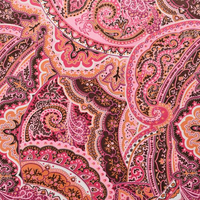 Deko žamet, ornamentni, 21569-911, oranžno roza