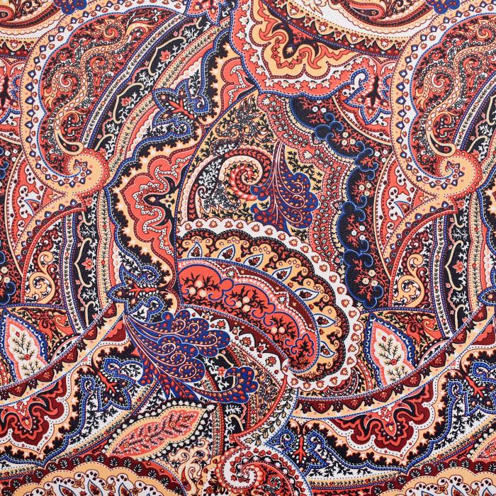 Dekostoff, Samt, Ornament, 21569-700, orange-blau