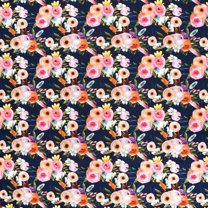 Prevešanka, digital, cvetlični, 21710-1115, temno modra