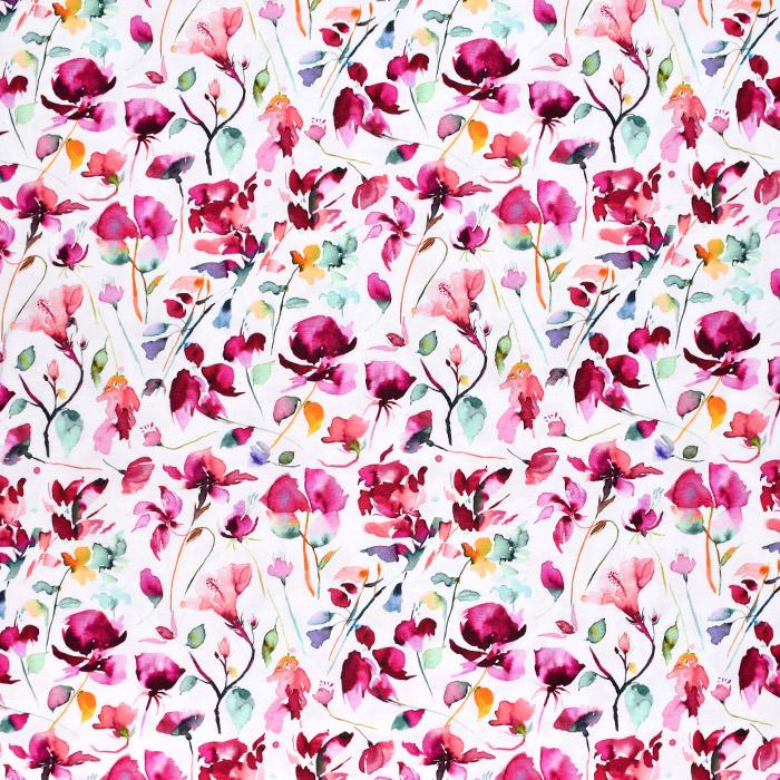Jersey, pamuk, digital, cvjetni, 21757-006, bijela