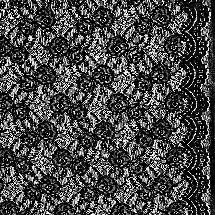 Čipka, elastična, 21657-069, črna