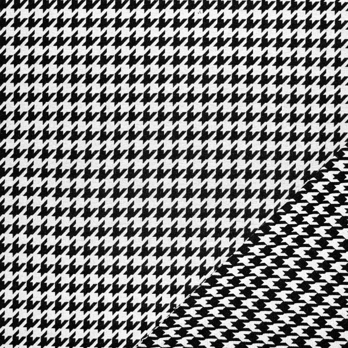 Tkanina, elastična, pepita, 21676-051, bela