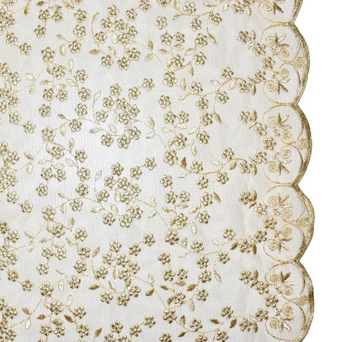 Čipka, prožna, cvetlični, 21906-0100, zlata