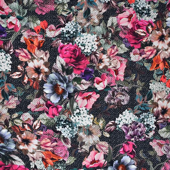 Jersey, bombaž, digital, cvetlični, 21944-002, roza