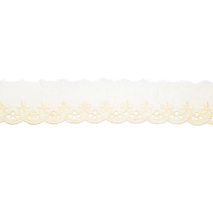 Čipka, vezena, 30 mm, 21975-003, rumena