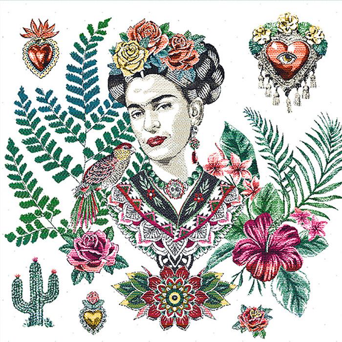 Deko žakard, panel, Frida Kahlo, 22077-2, bela