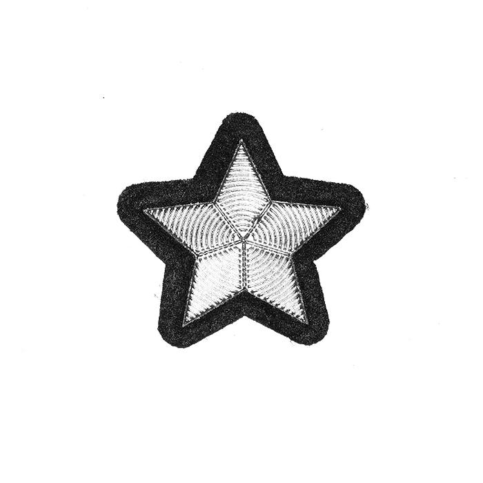 Našitek, zvezda, 22134-101, srebrna