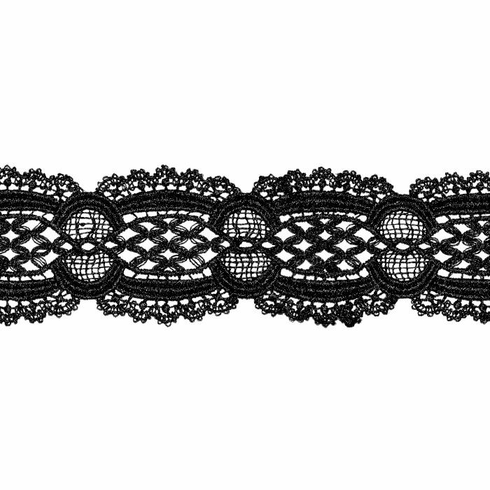 Čipka, 55 mm, ornamentni, 22141-002, črna