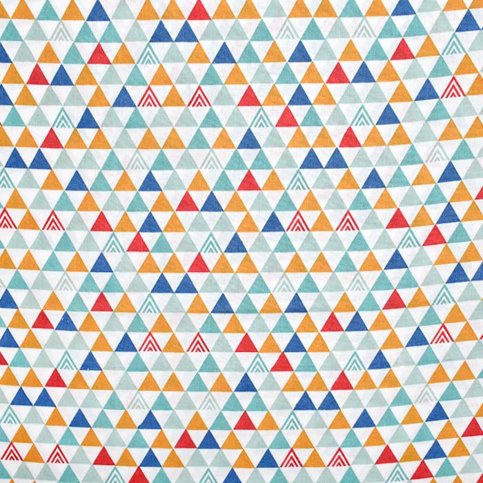 Bombaž, poplin, geometrijski, 20196-3, mint bela