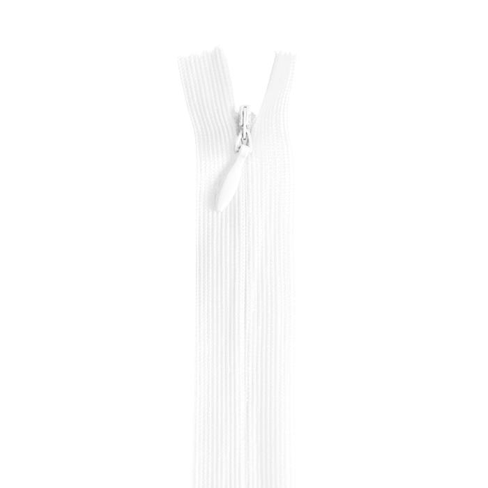 Zadrga, skrita 22 cm, 04 mm, 22216-501, bela