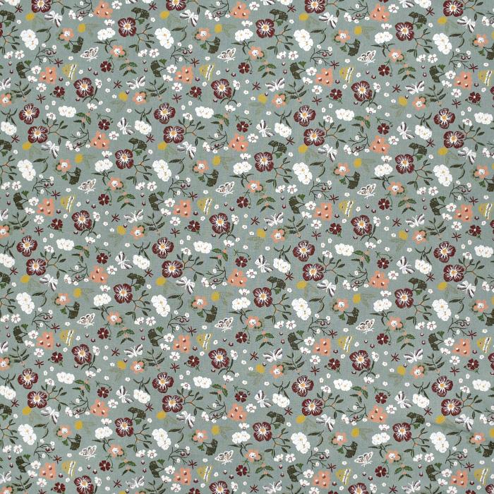 Bombaž, poplin, cvetlični, 22346-023, zelena