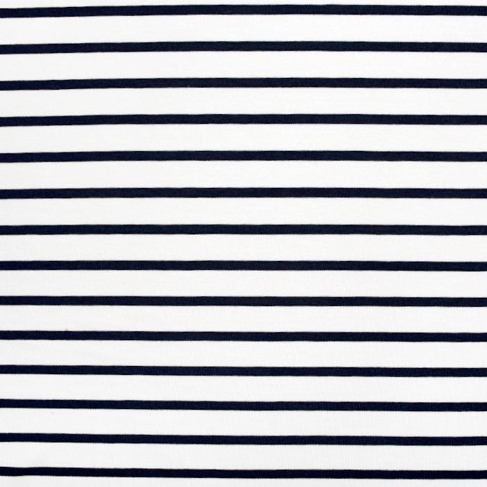 Jersey, viskoza, črte, 22380-308, temno modra