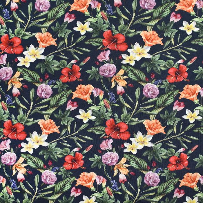 Jersey, bombaž, digital, cvetlični, 21447-9