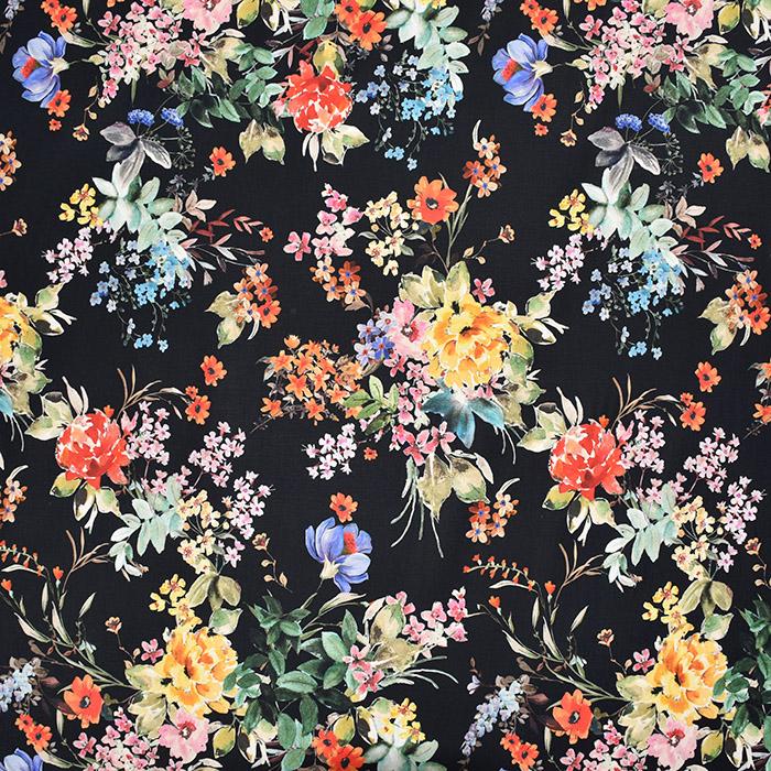 Saten, bombaž, viskoza, cvetlični, 22674-5, črna