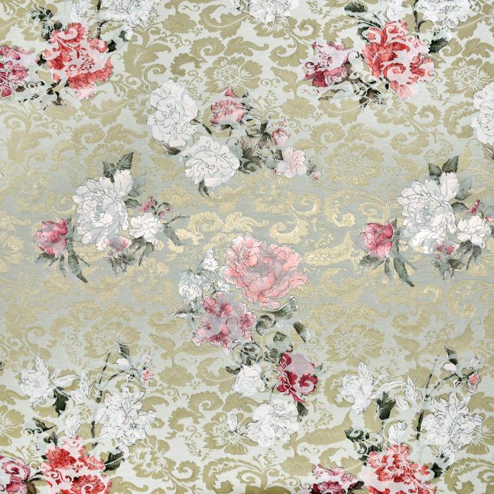 Tkanina, žakard, cvetlični, 22676-2, zlata